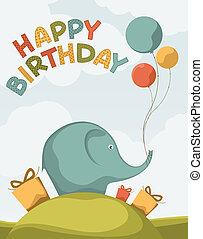 cartoline, compleanno, carino, elefanti