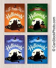 cartoline, halloween, progetta, collezione, felice