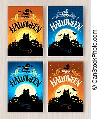 cartoline, set, halloween, progetta, felice