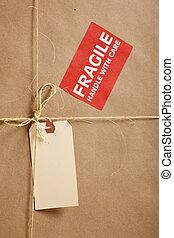 carton, étiquette, fond, expédition, boîte