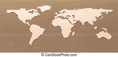 Carton airplane and world map - Airplane and world map made...