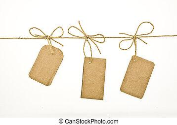 carton, arc, étiquettes