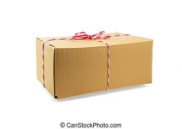 carton, attaché, ficelle, paquet, boîte