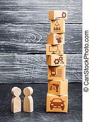 carton, bas, overproduction, marchandises, gens, commercer, économique, tour, nouveau, goods., achat, relations., crise, demand., services., trends., oversaturation, boîtes, vente, marché