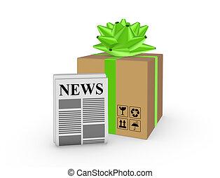 Carton box and newspaper.