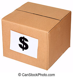 Carton box and sign of the dollar
