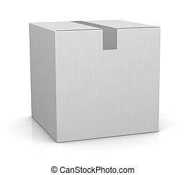 carton box - one closed carton box in white color (3d...