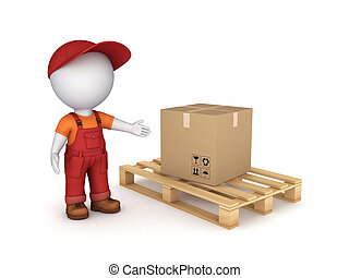 Carton box. - 3d small person in workwear and carton box.