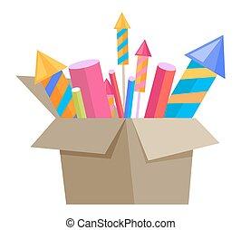 Carton Box Full of Pyrotechnics Isolated on White