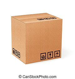 Carton box isolated - Brown closed carton delivery packaging...
