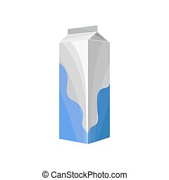 Carton box of milk, healthy fresh dairy product vector Illustration on a white background