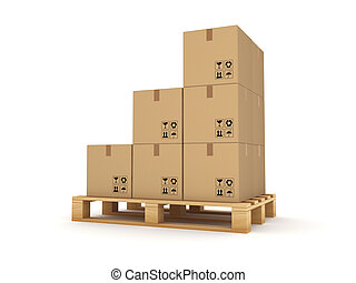 Carton box on a pallet.Isolated on white.