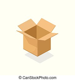 Carton box open empty vector illustration, 3d cardboard...