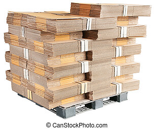carton box parts on plastic pallet isolated on white