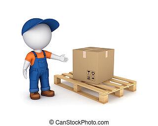 Carton box. - 3d small person in workwear and carton box.