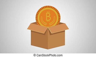 carton box with bitcoin ecommerce animation illustration design