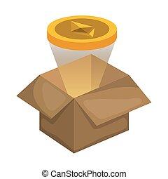 carton box with ethereum vector illustration design
