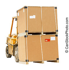 Carton box with pallet on forklift