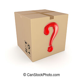 Carton box with red query mark. Isolated on white background.3d rendered.