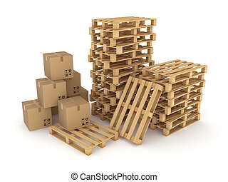 Carton boxes and pallets.