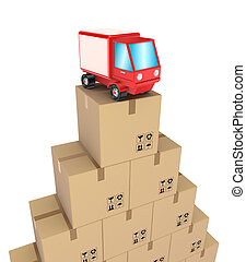 Carton boxes and red truck.