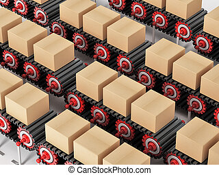 Carton boxes being transported on conveyor belts. 3D...