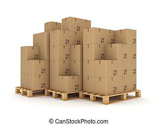 Carton boxes on a pallet.
