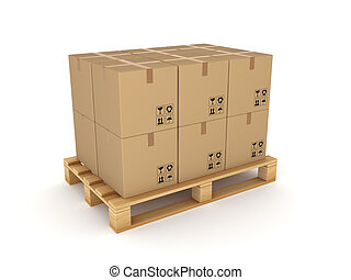 Carton boxes on a pallet.Isolated on white.