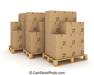 Carton boxes on a pallets.