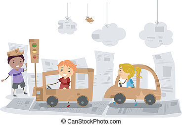 Carton Cars - Illustration of Kids Playing with Cars Made of...