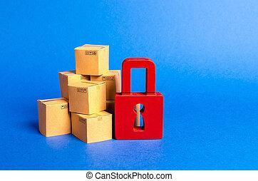 carton, clearance., pile, padlock., consommateur, protection., cargaison, purchases., assurance, boîtes, fournir, arrestation, rouges, products., import., douane, concept, acheté, droits, interdiction, garantie