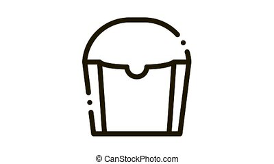 Carton Container For French Fries Packaging animated black icon on white background