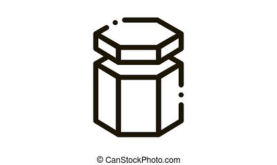 Carton Container In Hexagon Form Packaging animated black icon on white background