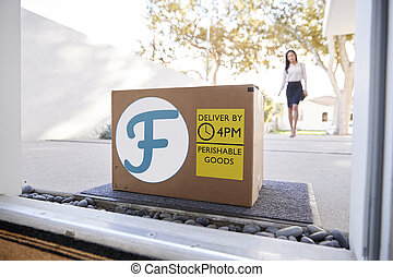 carton, dehors porte, frais, femme affaires, nourriture, maison, boîte, livraison, venir, devant