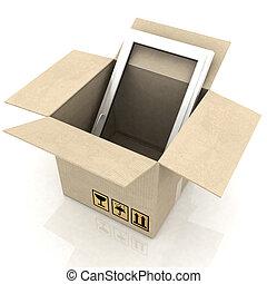 carton, fenetres, boîte, plastique