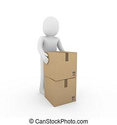 carton, humain, expédition, 3d