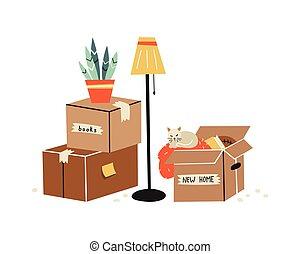 carton, illustration, boîtes, en mouvement, divers, items., ...