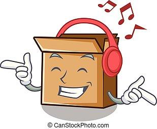 carton, musique, isolé, écoute, mascotte