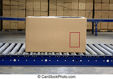 Carton on conveyor rollers in a warehouse