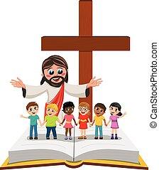 Carton open arms Jesus kids children hand in hand open bible gospel isolated