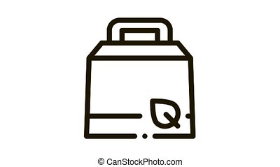 Carton Package With Handle And Plant Leaf animated black icon on white background