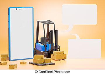 carton, pallet., texte, box., camion, élévateur, smartphone, boîte
