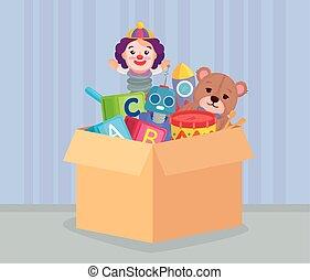 carton, paquet, jouets, boîte, mignon, gosses