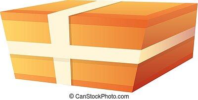 Carton parcel icon, cartoon style
