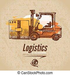 carton, poster., logistique, croquis, arrière-plan., ...