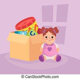 carton, poupée, jouets, jouets, boîte, mignon, gosses