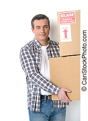 carton, tenue, boîtes, maison, moving., homme, gai, sourire, deux âges
