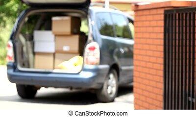 carton, tenue, homme, livraison, meute