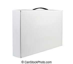 Carton White Blank Package Box With Handle. Briefcase, Case,...