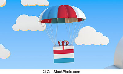 Carton with flag of Luxembourg falls with a parachute. 3D ...